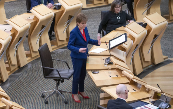 First Minister of Scotland, Nicola Sturgeon, during a Covid briefing at the Scottish Parliamen