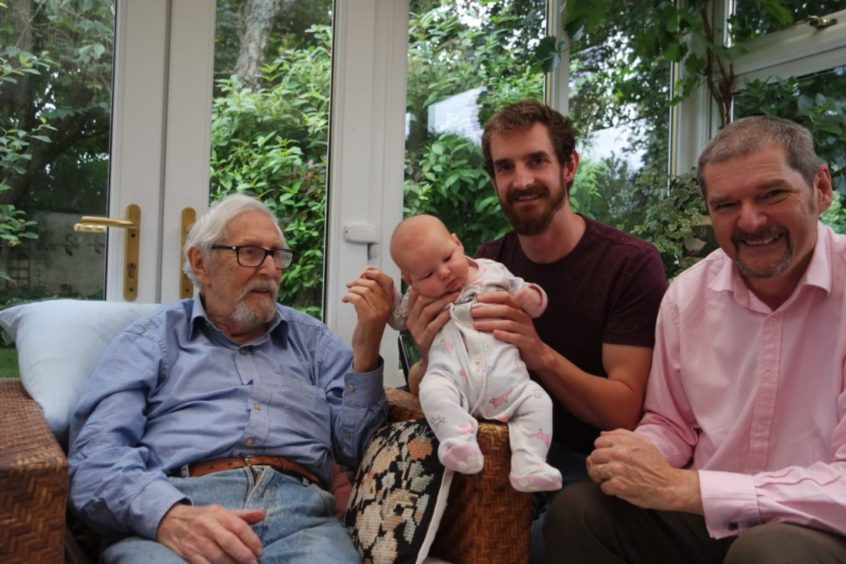 James Morrison with three generations of his family – son John, grandson Lewis, and Nellie, his great-granddaughter