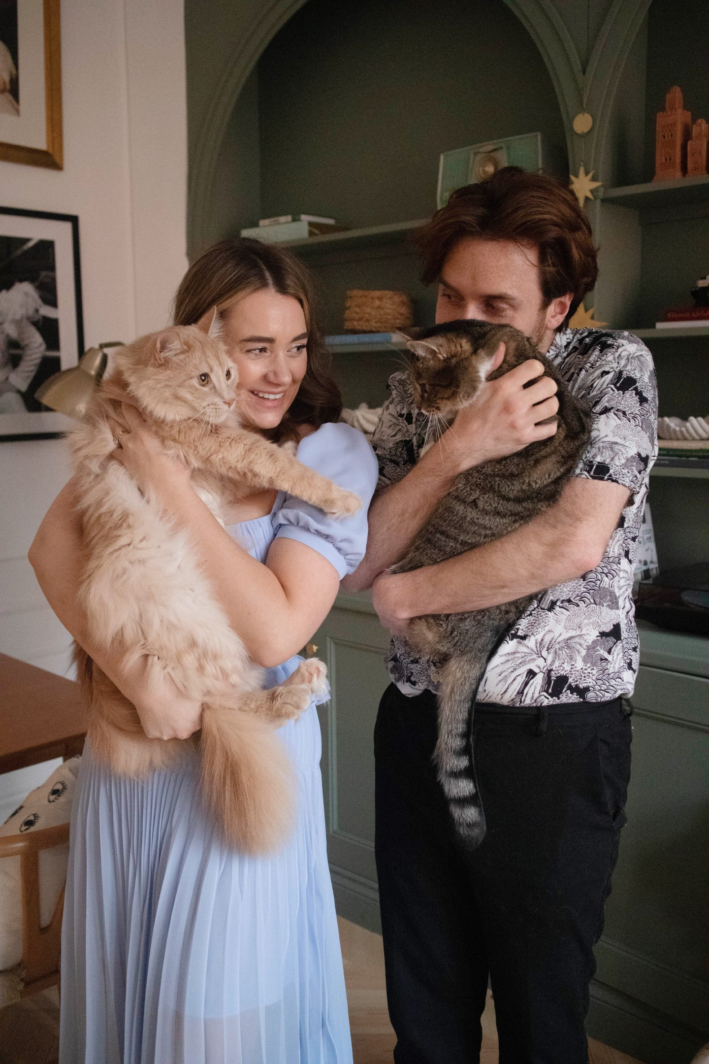 Kate with husband Jordan and cats Babyman and Mouse