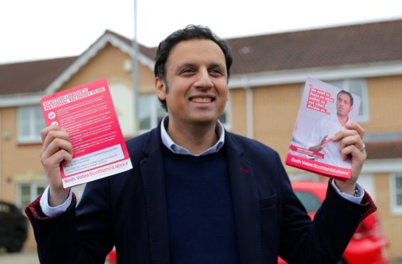 Scottish Labour Party leader Anas Sarwar campaigning in the Toryglen area of Glasgow