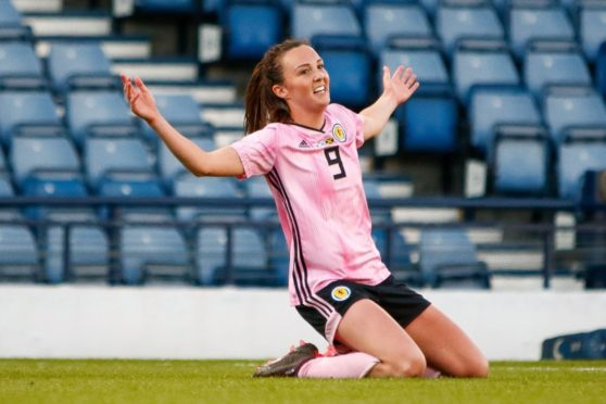 Caroline Weir celebrates scoring for Scotland against Jamaica at Hampden Park in 2019