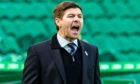 Steven Gerrard on the touchline at Celtic Park