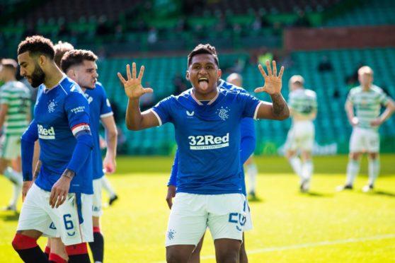 Alfredo Morelos celebrating his first-ever goal against Celtic