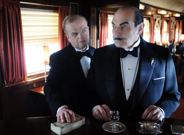 Toby Jones as Ratchett and David Suchet as Poirot in Murder on the Orient Express