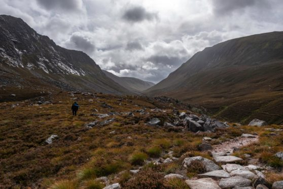 Looking into the Lairig Ghru from above the Chalamain Gap.