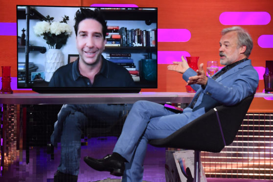 David Schwimmer being interviewed remotely during filming for the Graham Norton Show.