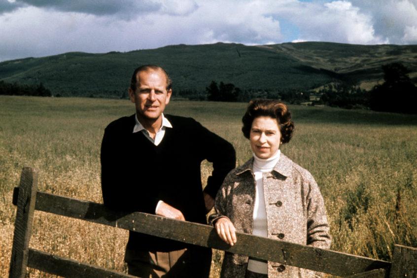 Duke of Edinburgh and Queen Elizabeth II at Balmoral celebrating their Silver Wedding anniversary.