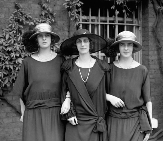 Lady Louise Mountbatten with, left, Princess Theodora of Greece and, right, Princess Margarita of Greece, daughters of Prince Andrew of Greece and Denmark, and sisters of the Duke of Edinburgh.