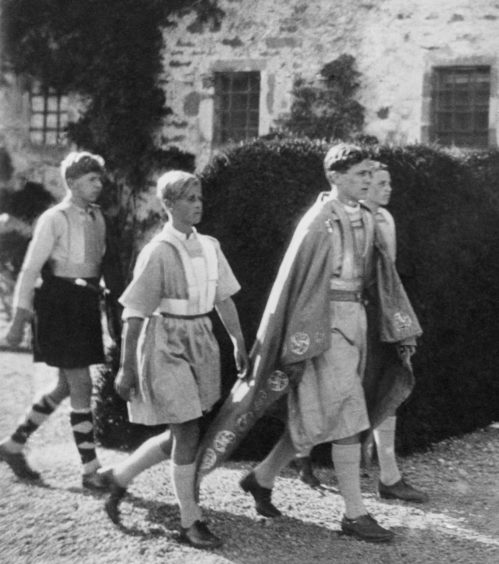 Twelve year old Prince Philip of Greece (2nd from left) taking part in an historical pageant at Gordonstoun School, Moray in Scotland.