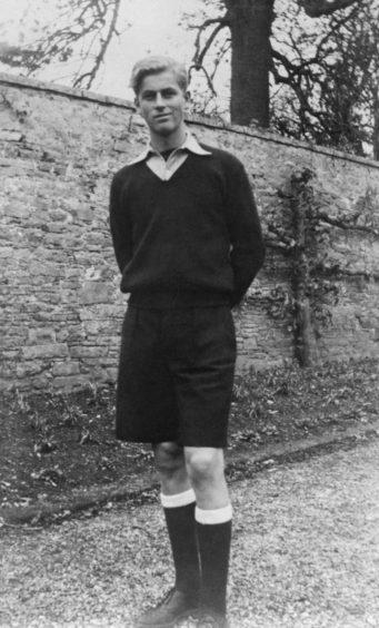 Prince Philip of Greece at the public school of Gordonstoun, Elgin in Scotland.