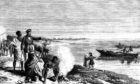 An engraving of David Livingstone with members of his expedition and his wife, Mary Moffat, and their children discovering Lake Ngami, Botswana in August 1849