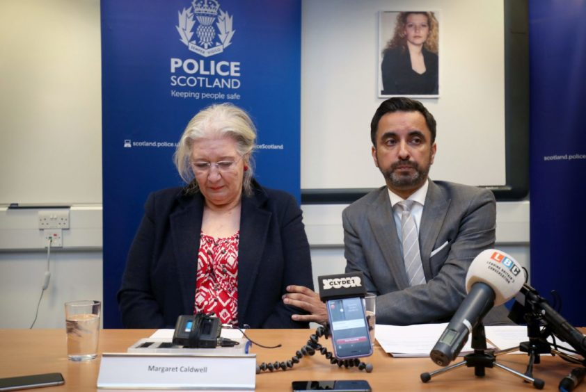 Emma's mother, Margaret Caldwell with solicitor Aamer Anwar during a police press conference