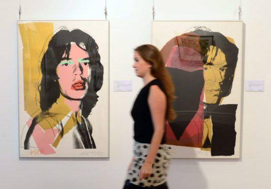 Andy Warhol's 1975 screenprint of Rolling Stones rocker Mick Jagger.