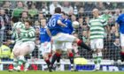 Jamie Ness lets fly with the stunning strike that opened the scoring in an Old Firm Scottish Cup tie a decade ago