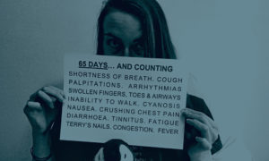 Barbara Melville, 37, who is in long-term recovery with Covid-19, shows a list of her symptoms