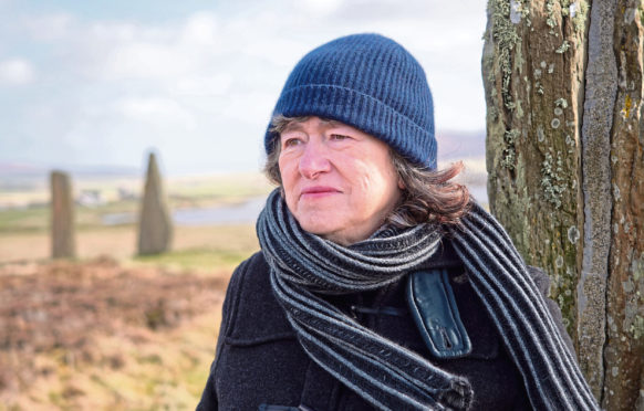 Author Linda Gask at the Ring of Brodgar, Orkney
