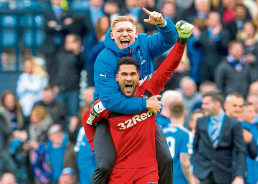 Wes Foderingham and Martyn Waghorn celebrate Rangers' penalty shoot-out win over Celtic in the 2016 Scottish Cup semi-final.