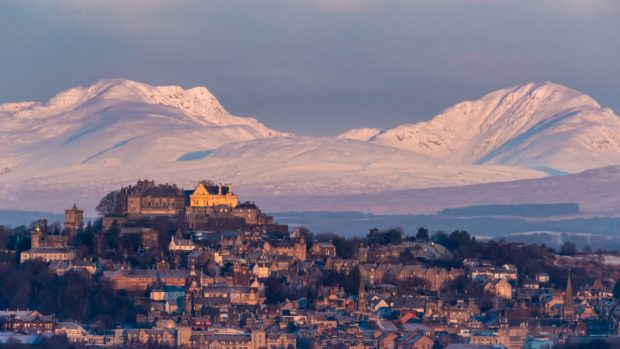 Stirling Castle with Ben Vorlich, right, and Stuc a'Chroin in the distance