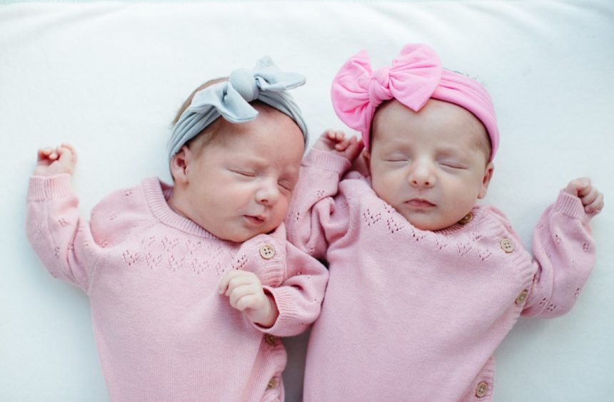 Newborn twins, Grace (left) and Orlaith (right)