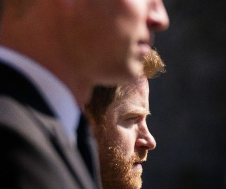 The Duke of Cambridge and Prince Harry walk in the procession at Windsor Castle, Berkshire, during the funeral of the Duke of Edinburgh.