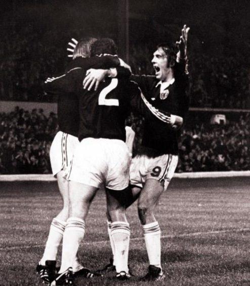 Joe Jordan (right), Scotland v Wales, 1976.