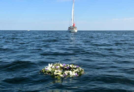 Gordonstoun pupils' wreath in Moray Firth where Prince Philip learned to sail