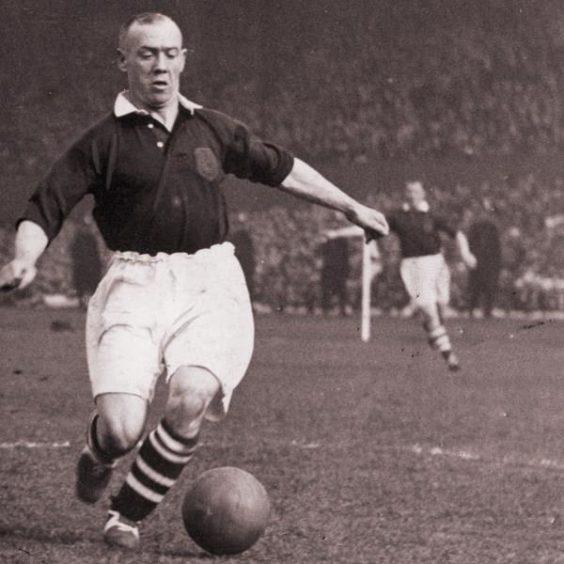 Hughie Gallacher in action for Scotland.