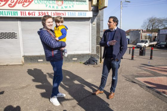Scottish Labour leader Anas Sarwar campaigning in Rutherglen, Glasgow.