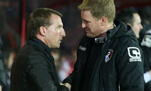 Eddie Howe with Brendan Rodgers