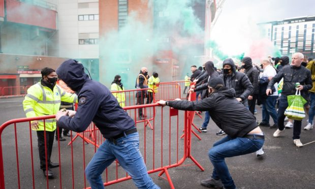Trouble flares outside Old Trafford last weekend
