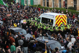 Men held in immigration enforcement van at centre of Glasgow protest released