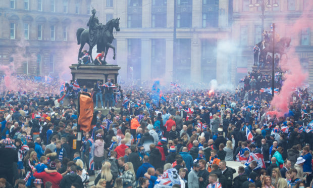 Rangers fans in Glasgow's George Square