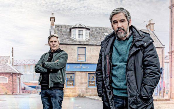Iain Robertson plays Stevie O'Hara, a character suffering mental ill-health. Iain's real-life friend, Garry Sweeney, far left is Gabriel, Stevie's guardian angel