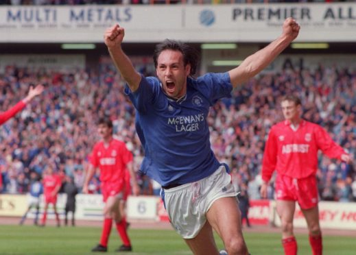 Mark Hateley's delight is clear as he turns away to receive the fans' acclaim after opening the scoring with the first of his double against Aberdeen in May, 1991