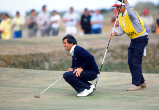 Golfing legend Seve Ballesteros enjoys the perfect St Andrews greens at the Open in 1984