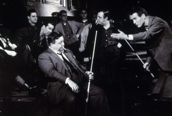 Paul Newman, Jackie Gleason and Robert Rossen in the 1961 movie The Hustler, the story of a high-stakes pool match