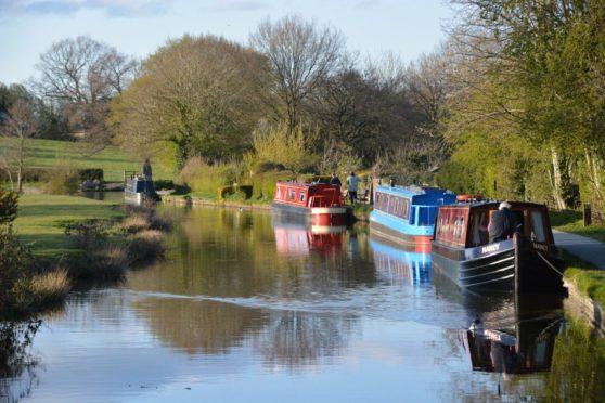 Boats moored along  Llangollen Canal