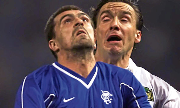 Sergio Porrini in Champions League action for Rangers against Sturm Graz in 2000