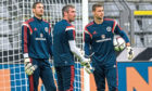Craig Gordon, Allan McGregor and David Marshall at a Scotland training session in Germany in 2014.