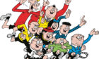 Freddy, in red blazer, goes on the run with The Bash Street Kids after losing his nickname in famous Beano strip