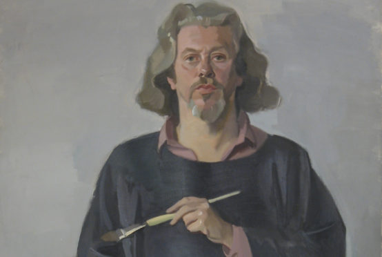 Alexander Goudie, Self portrait with palette and black smock c. 1985