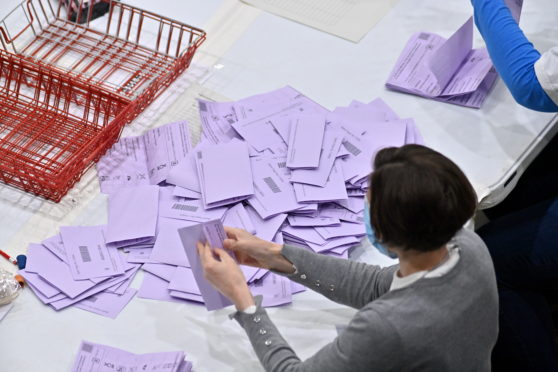 Ballot counting at Aberdeen's P&J Live