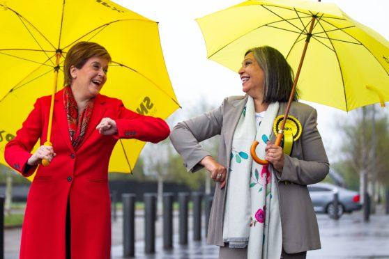 First Minister Nicola Sturgeon congratulating  Kaukab Stewart on being elected Glasgow Kelvin MSP