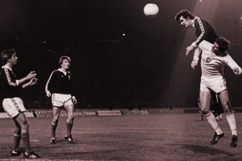 Joe Jordan heads Scotland's opener against Czechoslovakia, 1977.