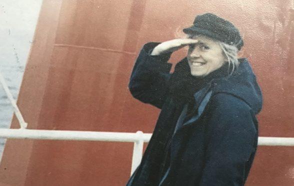 Mairi Hedderwick on the ferry to Islay