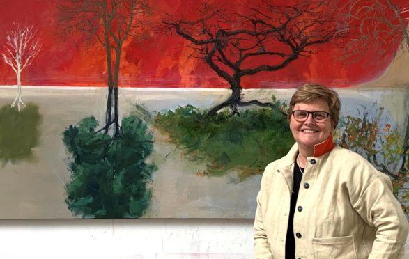 Artist Kate Downie in her studio