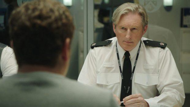 DCI Ian Buckells (Nigel Boyle), gets a grilling from Supt Ted Hastings (Adrian Dunbar)