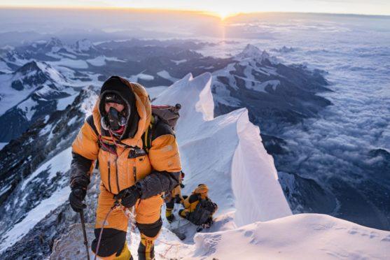 Climber and author Mark Synnott photographed by fellow climber Matt Irving on Everest's Northeast Ridge in 2019