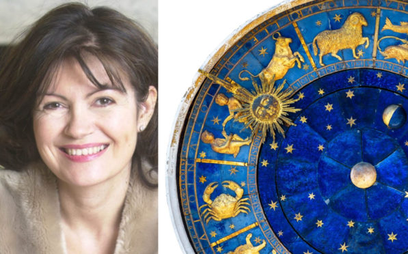 Celebrity astrologist Debbie Frank and the zodiac wheel
