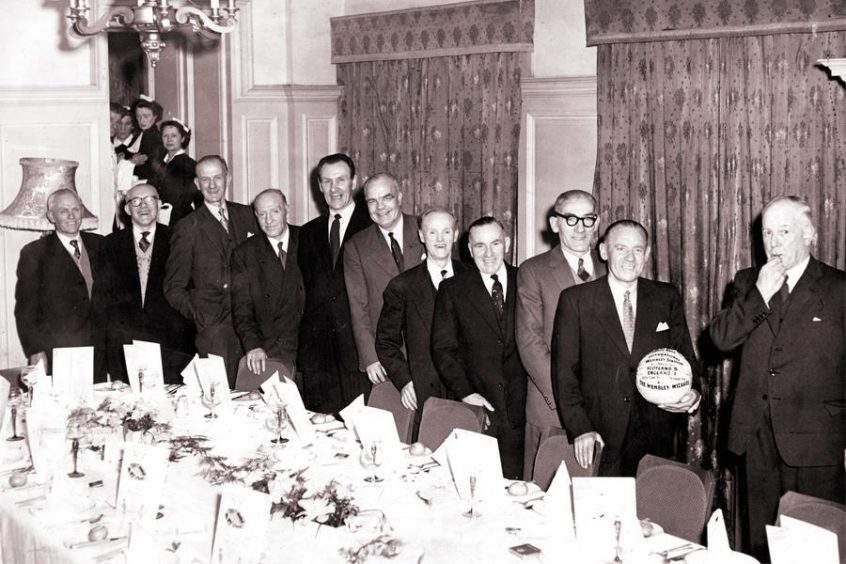 The 'Wembley Wizards' reunion in 1958. Thirty years earlier, the team defeated England at Wembley, 1-5.